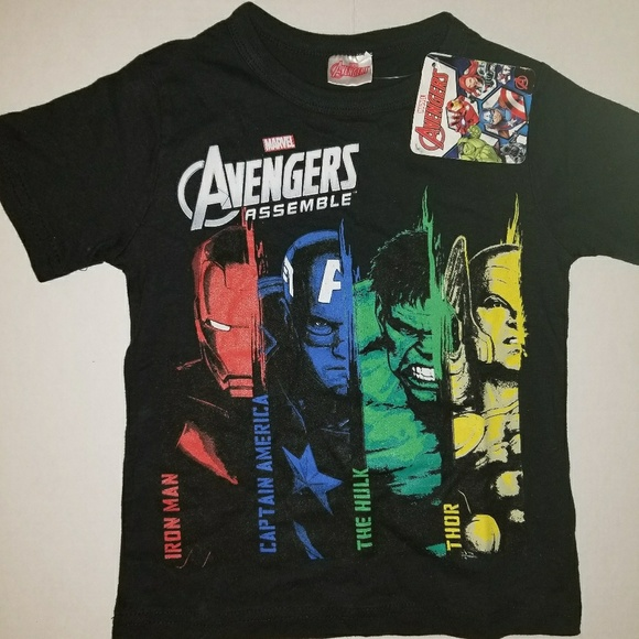 14-16 Marvel Youth Avengers Assemble Glow In The Dark Shirt New Size XL